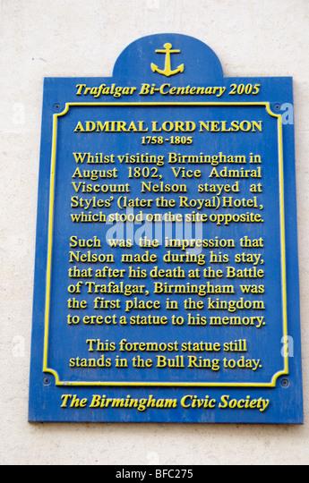 Tafel zum Gedenken an den Besuch des Admiral Lord Horatio Nelson in der Styles-Hotel in Birmingham Stockbild