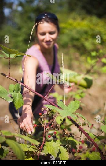 Beim Pflücken Brombeeren in einem lokalen Park, hält eine Frau ihre grünen Yoga-Matte unter dem Arm. Stockbild