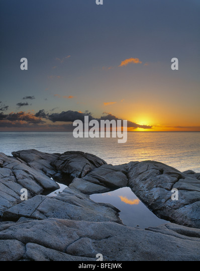 Sonnenuntergang über Lakie Kopf, Cape Breton Highlands National Park, Nova Scotia, Kanada Stockbild