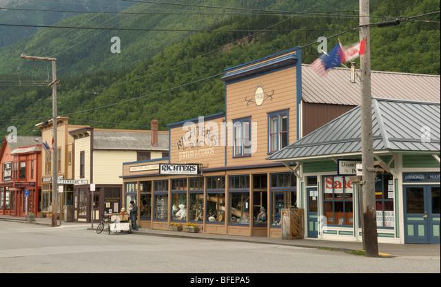 Malerische Straßenbild, Skagway, Alaska, Vereinigte Staaten von Amerika Stockbild
