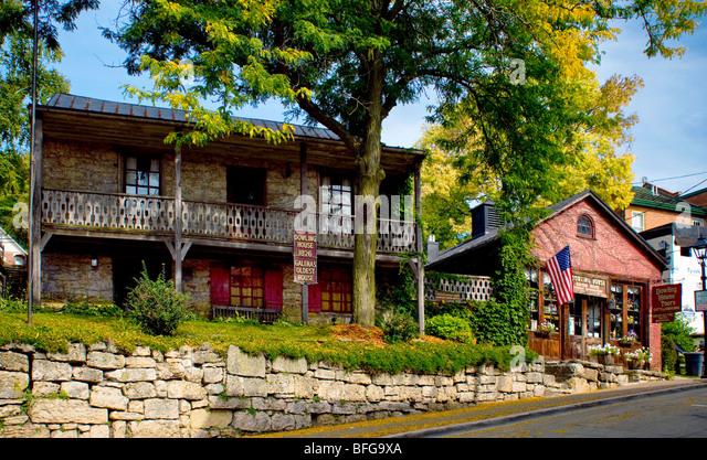 Dowling House, das älteste Haus in Galena, Illinois - Stock-Bilder