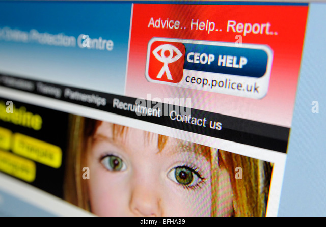 UK Ausbeutung und Online-Schutz (CEOP) Bericht Button auf Website. Stockbild