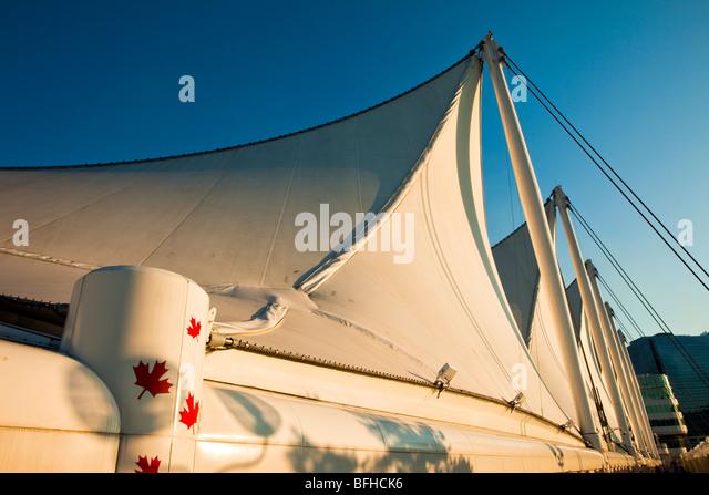 5 Segel, Canada Place, Vancouver, Britisch-Kolumbien, Kanada Stockbild