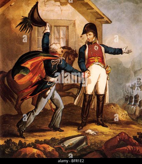 Blücher trifft der Herzog von Wellington im La Belle Alliance Inn während der Schlacht von Waterloo (siehe Stockbild