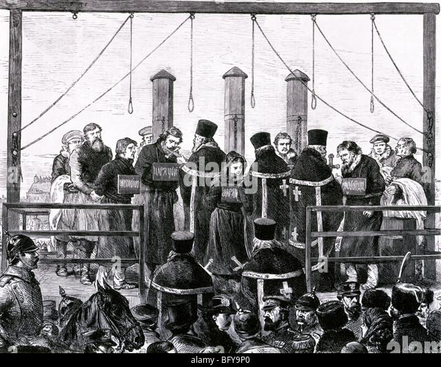 Ermordung von ALEXANDER II. von Russland März 1881. Fünf der Mörder wurden gehängt, andere nach Stockbild