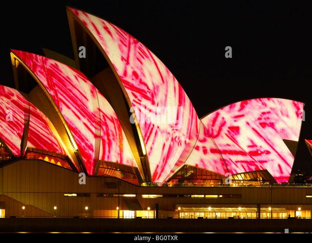 Festival der Licht, Sydney Opera House, UNESCO-Weltkulturerbe, Sydney, New South Wales, Australien, Pazifik Stockbild