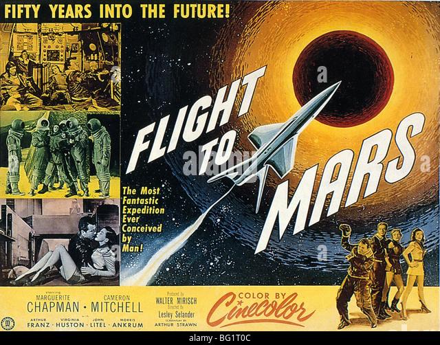 Flug zum MARS - Plakat für 1951 Monogram Pictures Film Stockbild