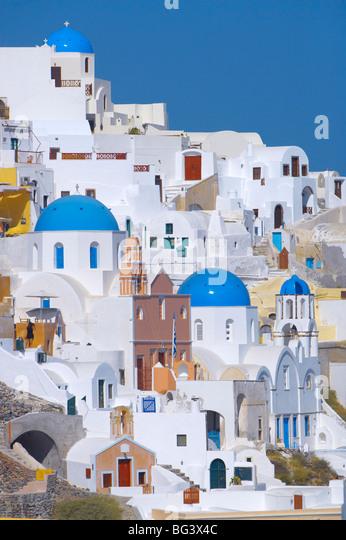 Oia, Santorin, Kykladen, griechische Inseln, Griechenland, Europa Stockbild