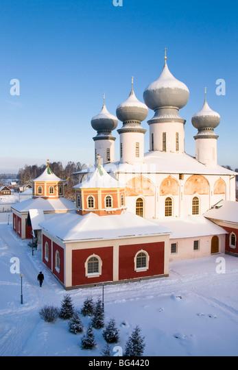 Uspenski-Kathedrale, Kloster Bogorodichno Uspenskij, Tichwin, Gebiet Leningrad, Russland Stockbild