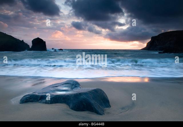 Sonnenuntergang am Dalbeg Strand, Isle of Lewis, Hebriden, Schottland, UK Stockbild