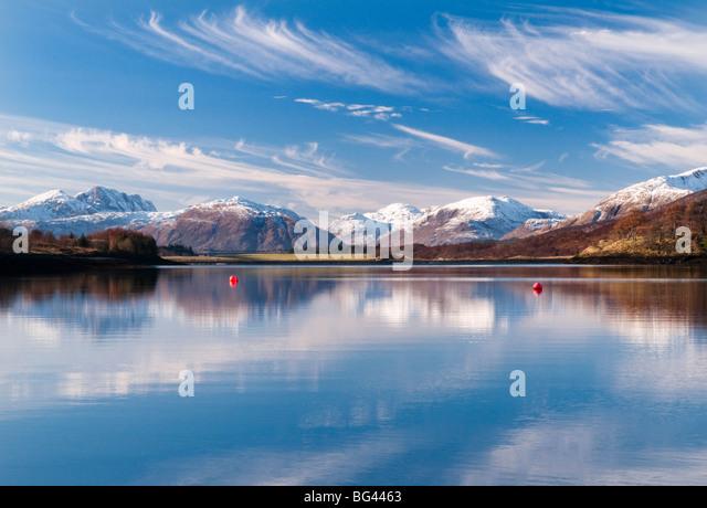 Reflexionen im Loch Leven, Glencoe, Scotland, UK Stockbild