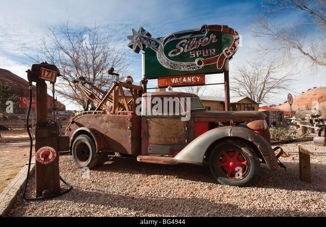 USA, Utah, Moab, Loch im Felsen Tourist Shop, Hof Detail, winter Stockbild