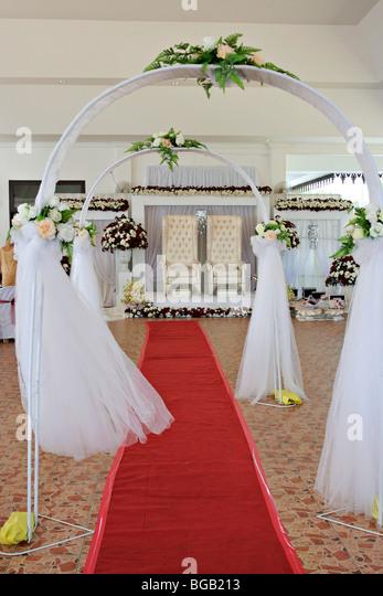 Traditionelle malaiische Hochzeit Podium in Terengganu, Malaysia. Stockbild
