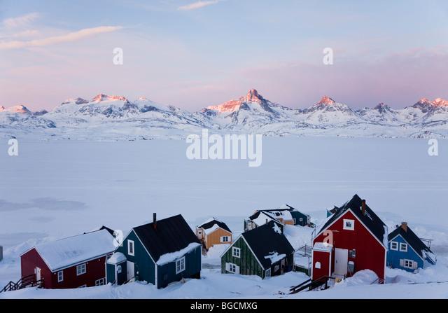 Tasiilaq, Grönland, winter Stockbild