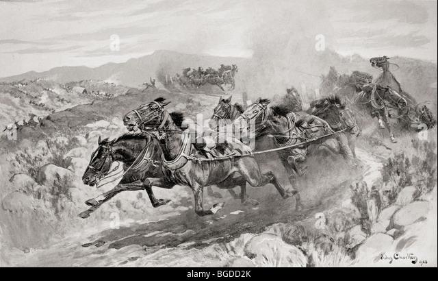 Die Katastrophe in Koornspruit, Südafrika, 30. März 1900. Fahrerlose Teams während des Zweiten Burenkrieges Stockbild