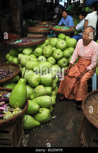 Markt-Szene, Yangon, Birma, Myanmar Stockbild
