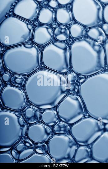 Makro einer Masse von Wasserblasen Stockbild