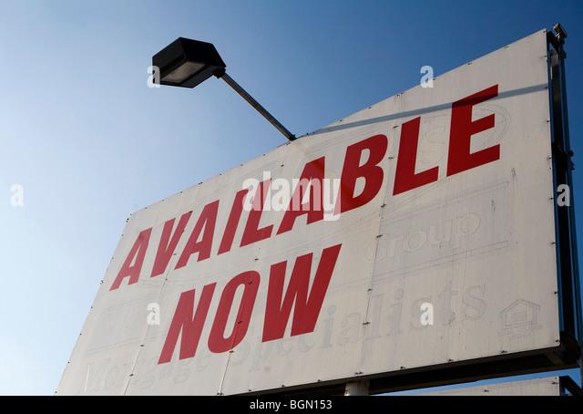 Signage Werbung Verkaufsfläche für Miete oder Pacht. Stockbild
