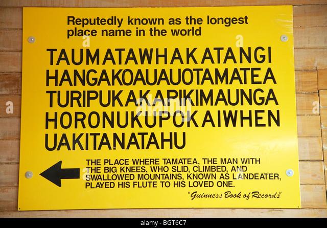 Melden Sie sich für die weltweit längste Ort Name, Visitor Information Centre, Central Hawkes Bay, North Stockbild