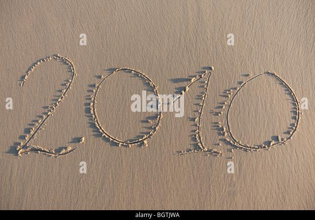 Text geschrieben am Strand - Stock-Bilder