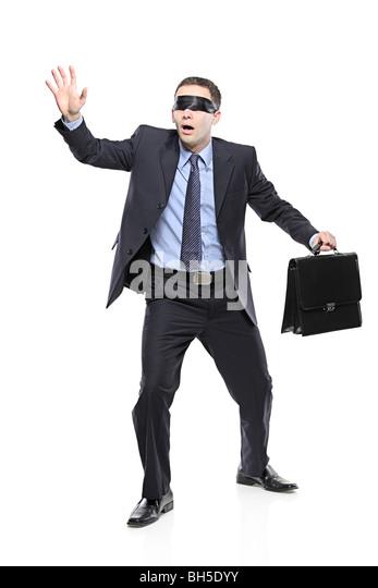 Mit verbundenen Augen Geschäftsmann isoliert auf weißem Hintergrund Stockbild