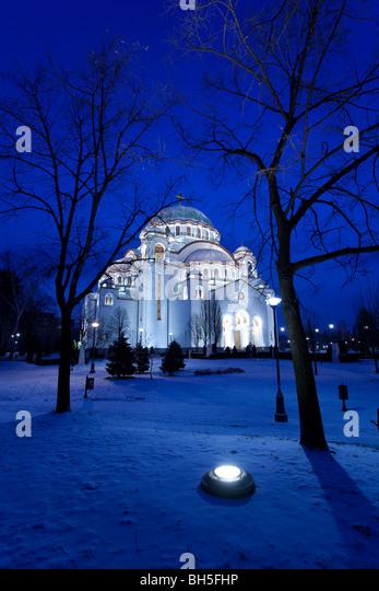 Belgrad Winternacht, St. Sava Temple Stockbild