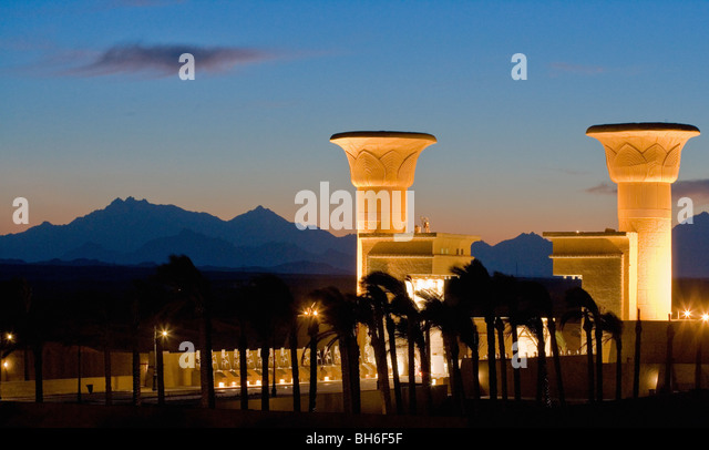 Eingang zum Resort Sahl Hasheesh Stockbild