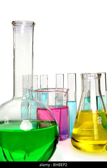 Laborglas isoliert auf weißem Hintergrund Stockbild