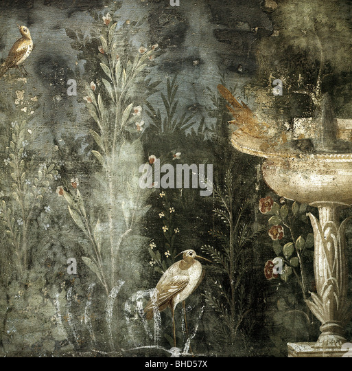 Bildende Kunst, antike, Römisches Reich, Pompeji, detail aus einem Fresko, Garten-Szene, Haus der Venus, Italien, Stockbild