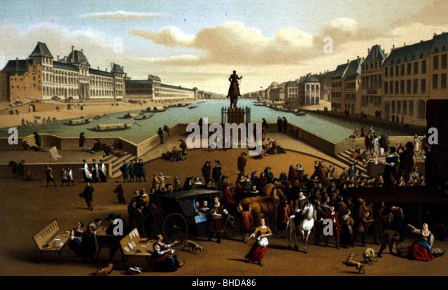 Geographie / Reisen, Frankreich, Paris, Pont Neuf, 17. Jahrhundert, nach der zeitgenössischen Malerei, Farblitho Stockbild