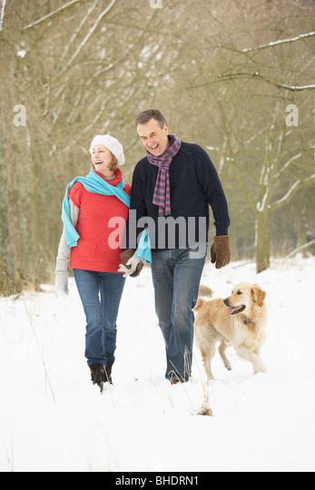Älteres paar Walking Hund durch den verschneiten Wald Stockbild