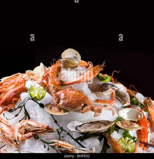 Meeresfrüchte auf Eis. Isoliert auf schwarz. Stockbild