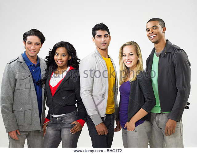 Fünf junge Menschen Stockbild