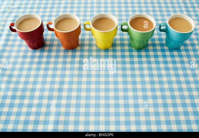Fünf Tassen Tee Stockbild