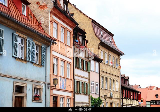 Reihe von traditionellen deutschen Gebäude Stockbild