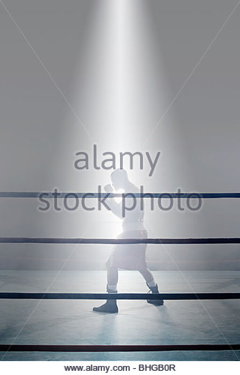Boxer in den Boxring Stockbild