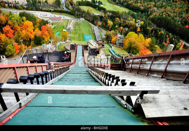 Ein Blick von der Olympiaschanze Tor in Lake Placid, New York, USA. Stockbild