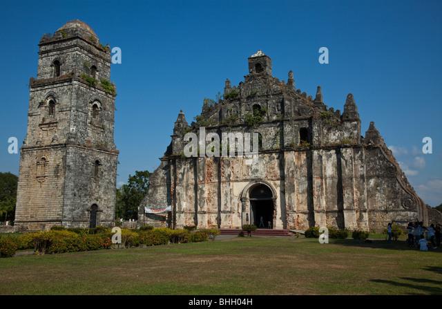 Paoay Kirche Erdbeben Barock Stockbild