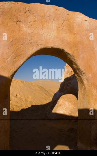 Berühmte Film-Set von Star Wars-Filme in der Sahara Wüste in der Nähe von Tozeur Tunesien Afrika Stockbild