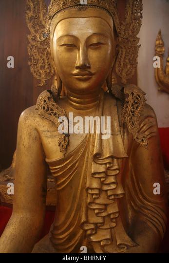 Myanmar, Burma, Amarapura, Bagaya Kyaung, Buddha-Statue, Stockbild