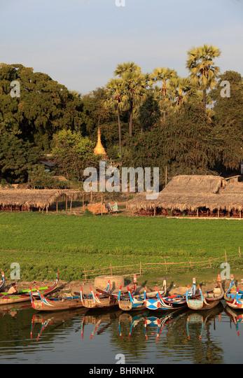 Myanmar, Burma, Amarapura, Taungthaman Dorf, Stockbild