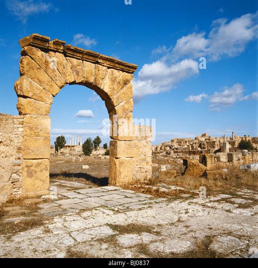 Dougga römische Ruinen, Tunesien, Nordafrika Stockbild