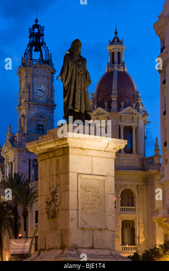 Plaza del Aguntamiento & Rathaus; Valencia; Costa del Azahar; Provinz Valencia; Spanien Stockbild