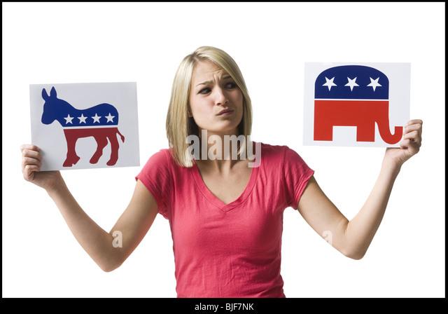 Frau, die politische Partei Schilder Stockbild