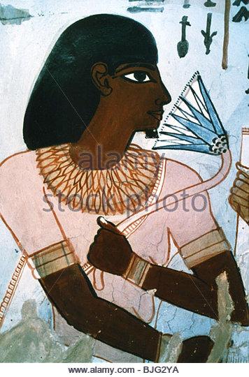 Bildende Kunst, antike Welt, Ägypten, Wandmalerei aus dem Grab des Senneferi, ca. 1450 v. Chr., Pelizaeus-Museum Stockbild