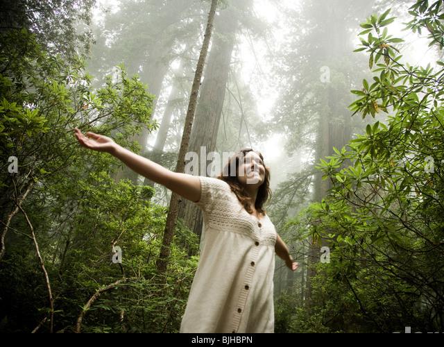 Frau zu Fuß durch einen Wald von Mammutbäume Stockbild