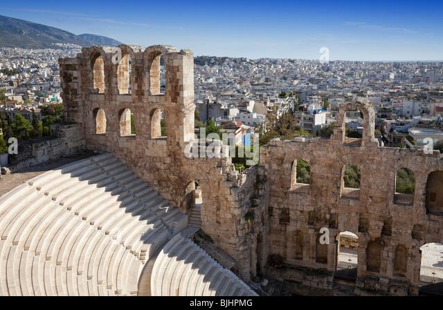 Irodium Theater auf der Akropolis in Athen. Stockbild