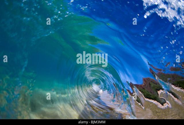 Eine perfekte endlose blaue Welle. Stockbild