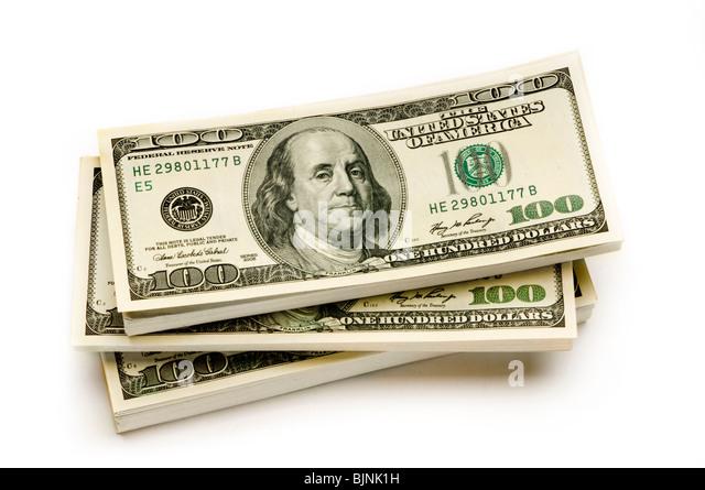 Stapel von amerikanischen Geld auf weißem Hintergrund Stockbild