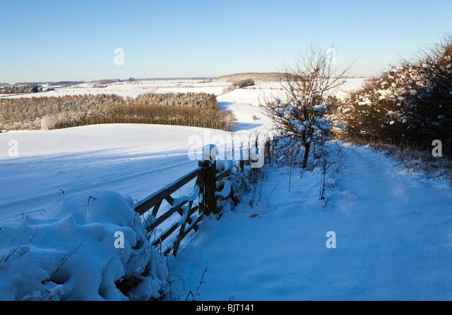 Winter in den Cotswolds - der Fußweg von Broadwater unten in der Nähe von Farmington, kalten verschneit, Stockbild